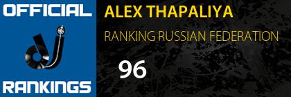 ALEX THAPALIYA RANKING RUSSIAN FEDERATION