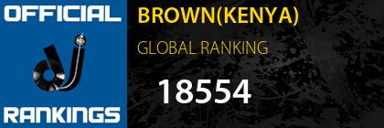 BROWN(KENYA) GLOBAL RANKING