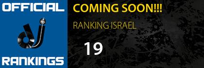 COMING SOON!!! RANKING ISRAEL