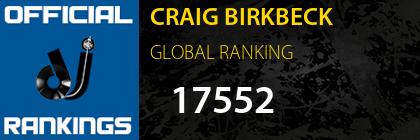 CRAIG BIRKBECK GLOBAL RANKING