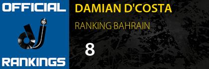 DAMIAN D'COSTA RANKING BAHRAIN