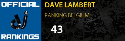 DAVE LAMBERT RANKING BELGIUM