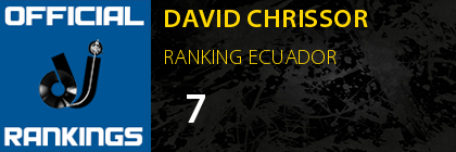 DAVID CHRISSOR RANKING ECUADOR