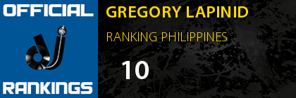 GREGORY LAPINID RANKING PHILIPPINES