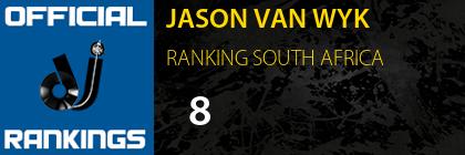 JASON VAN WYK RANKING SOUTH AFRICA