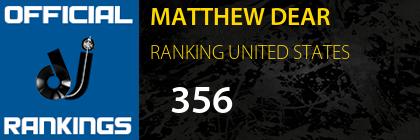 MATTHEW DEAR RANKING UNITED STATES