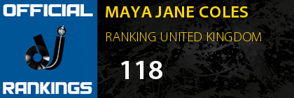MAYA JANE COLES RANKING UNITED KINGDOM