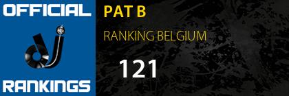 PAT B RANKING BELGIUM