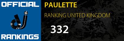 PAULETTE RANKING UNITED KINGDOM