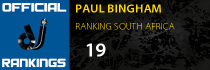 PAUL BINGHAM RANKING SOUTH AFRICA