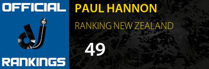 PAUL HANNON RANKING NEW ZEALAND