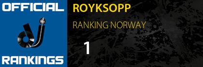 ROYKSOPP RANKING NORWAY
