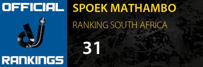 SPOEK MATHAMBO RANKING SOUTH AFRICA