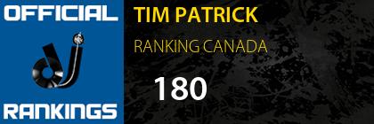TIM PATRICK RANKING CANADA