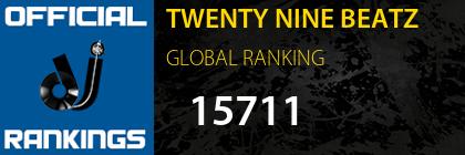 TWENTY NINE BEATZ GLOBAL RANKING