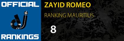 ZAYID ROMEO RANKING MAURITIUS